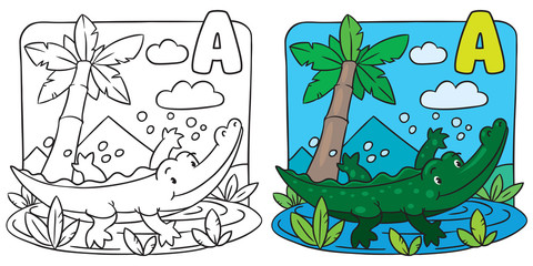 Little crocodile coloring book. Alphabet A