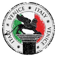 Grunge stamp of Venice, flag of Italy  vector illustration