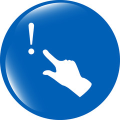 exclamation mark sign icon with people hand. Help symbol