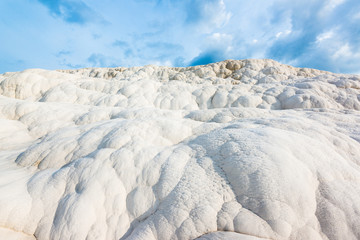 Travertine rocks in Pamukkale, Turkey