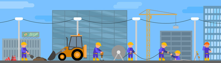 Road works - vector illustration in flat style