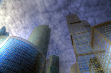 Photo of modern skyscrapers against the sky