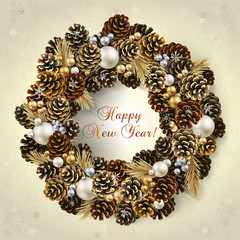 Card with wreath of fir cones and beads