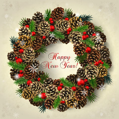 Card with wreath of fir cones, branches and red beads