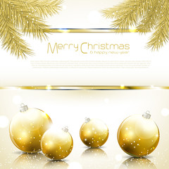 Gold Christmas background with balls and needles