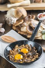 Variedad de setas y huevos e ingredientes para su cocina