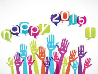 mains groupe souriant : happy 2015
