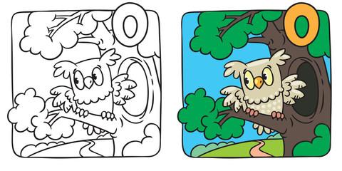 Little owl coloring book. Alphabet O