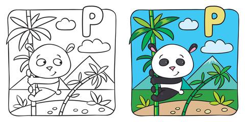 Little panda coloring book. Alphabet P