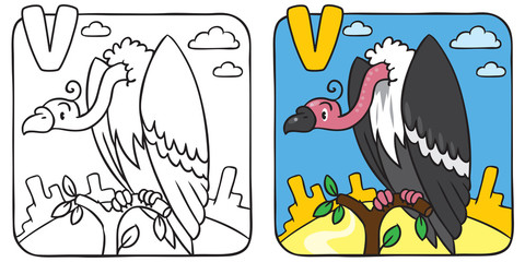 Funny vulture coloring book. Alphabet V