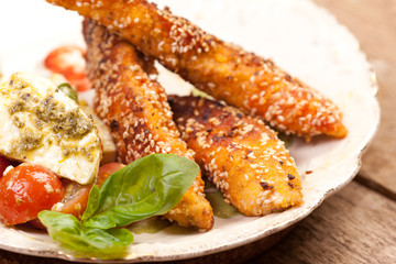 chicken breast with sesame seeds