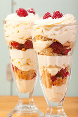coconut, raspberry and lemon trifle