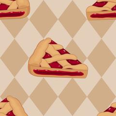 Pieces of cherry tart seamless pattern