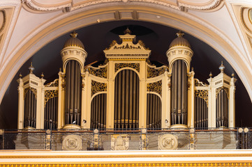 Pipe organ inside catholic church