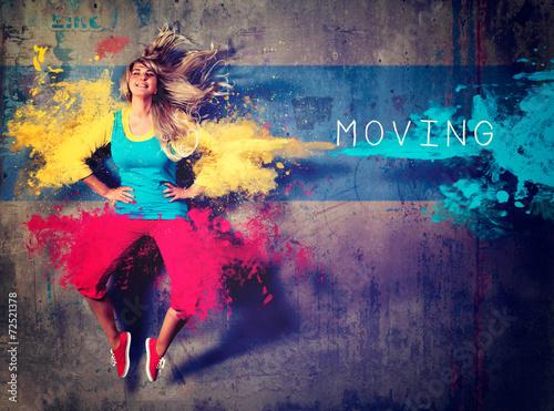 Aluminium Dans girl with colorsplash dancing - movin 02
