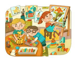 Маленькие дети в детском саду занимаются творчеством.