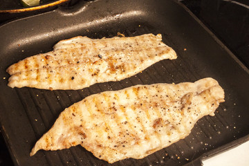 Fried zander fillets
