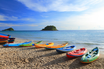 Colorful boats on the tropical beach in Thailand
