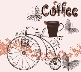 Coffee background with swirl old-fashioned bicycle and coffee cu