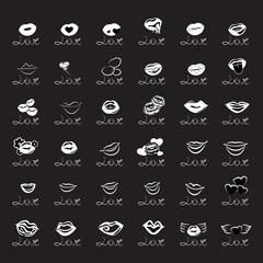 Love Icons Set - Isolated On Black Background