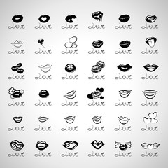 Love Icons Set - Isolated On Gray Background
