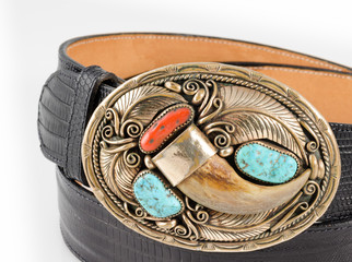 Bear Claw, Turquoise and Coral Belt Buckle.