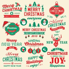 Collection of Christmas labels and decoration
