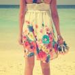Vintage girl on beach