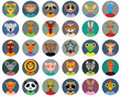 Set of animals faces circle icons set in Trendy Flat Style. zoo