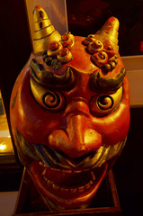 Carved and sculpture Oni Giant Demon Head Japanese Style