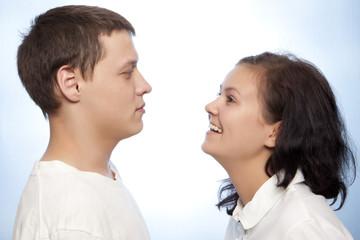 Beautiful loving couple smiling