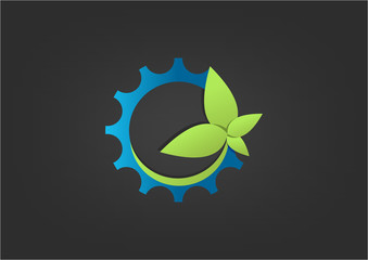 Logo Green Gear Bio technology icon symbo