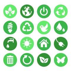 Green Nature Icons Set