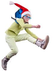 happy Christmas Santa girl running, jumping and hurrying up
