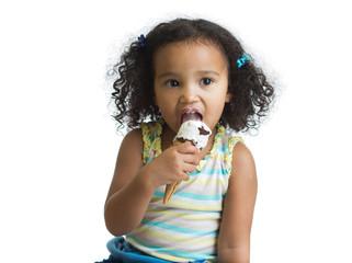 mulatto kid eating ice cream isolated