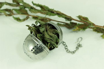 Mint with a tea strainer