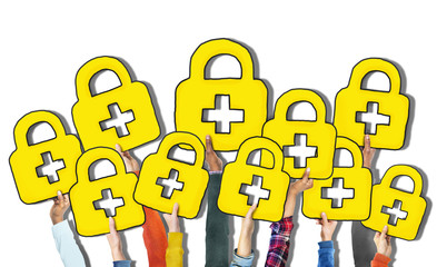 Group of Hands Holding Padlock
