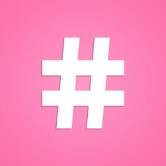 white hashtag icon isolated on pink background