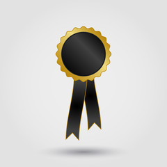 black and gold rosette with ribbon