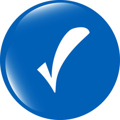 glossy web button with check mark sign. shape icon