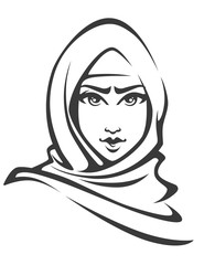 beautiful face of arabic muslim woman