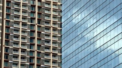 Glass facade of modern office building