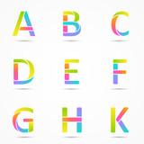 Fototapety Color logo letters a, b, c, d, e, f, g, h, k font template.