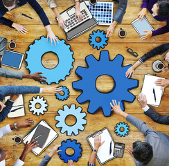 Business People Working and a Gear Symbol