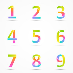 Color logo numbers 1, 2, 3, 4, 5, 6, 7, 8, 9 font template.