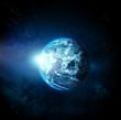 Leinwandbild Motiv Planet earth with sun rising from space-original image from NASA