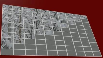 100個のモニター画面に映し出された森の雪景色