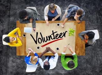 People in a Meeting and Single Word Volunteer