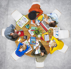 Aerial View of People Sleeping on the Table