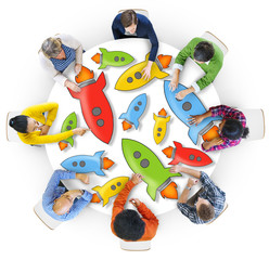 Aerial View of People and Technology Concepts